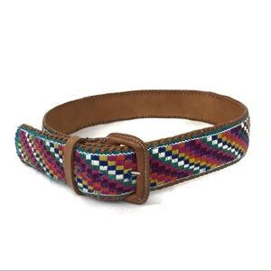 Vintage Woven/Leather Belt multicolor Small